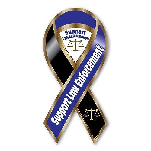 Support Law Enforcement Blue//Black Large Ribbon Magnet Magnet America