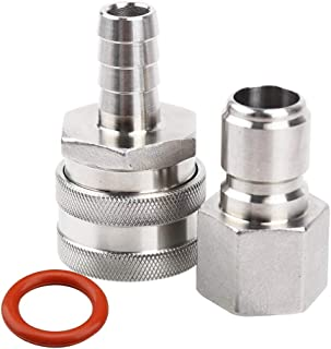 MRbrew Quick Disconnect 304 Stainless Steel Set 1/2'' FPT Male 1/2'' Female Barb (1/2'' FPT Male,1/2'' Female Barb)