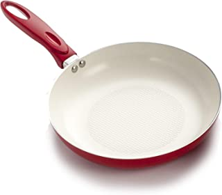 Excelsteel 566 Professional Aluminum Frypan with Ceramic Non-Stick Coating, 8-Inch, Off-White