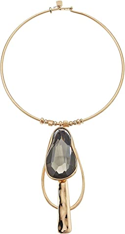 Stone Pendant Round Wire Necklace