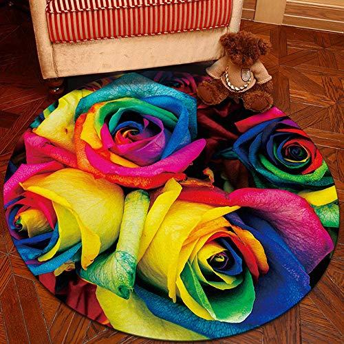 Chuanganja IKEA ronde tafelloper voor slaapkamer, woonkamer, rozen, antislip, rond, 80 cm