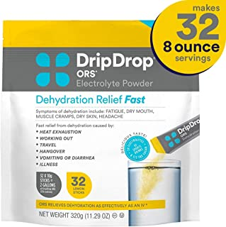 DripDrop Ors - Patented Electrolyte Powder for Dehydration Relief fast - For Heat Exhaustion, Hangover, Illness, Sweating & Travel Recovery, Lemon, 32Count Pouch, Makes (32) 8oz Servings