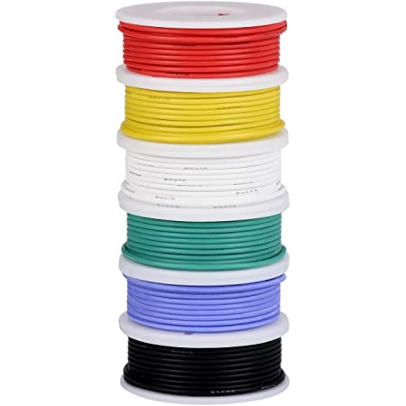 TUOFENG 24 Gauge Wire-Stranded Wire Kit-24 AWG Flexible Silicone Wire(6 Different Colored 30 Feet spools) 300V Hook up Wire Kit Tinned Copper Wire