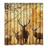 DOUBEE Badezimmer Hirsch Deer Wasserdichtes Duschvorhang Shower Curtain 167cm x 183cm Mit Haken