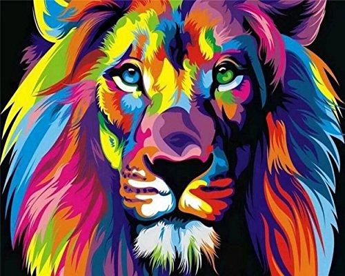 Tirzah Malen nach Zahlen mit 3X Bildschirmlupe 40 x 50cm DIY Leinwand Gemälde für Erwachsene und Kinder, Enthält Acrylfarben und 3 Pinsel - Bunter Löwe (Ohne Rahmen)