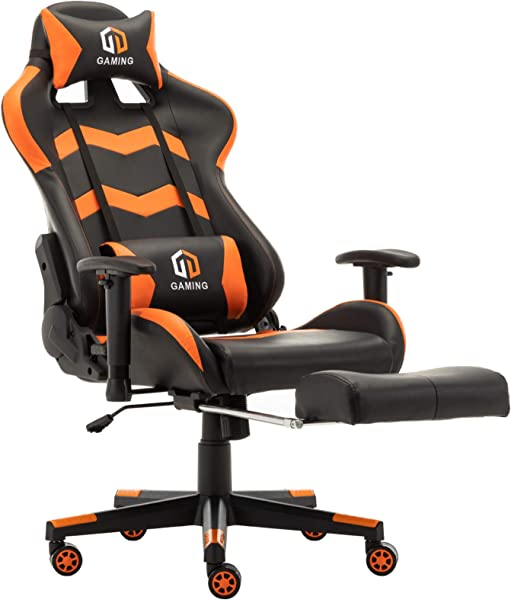 Gaming Chair Racing Office Chair Computer Desk Chair Executive And Ergonomic Reclining Swivel Chair With Headrest Lumbar Cushion And Retractable Footrest Orange
