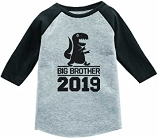 Tstars Gift for Big Brother 2019 T-Rex Boy 3/4 Sleeve Baseball Jersey Toddler Shirt