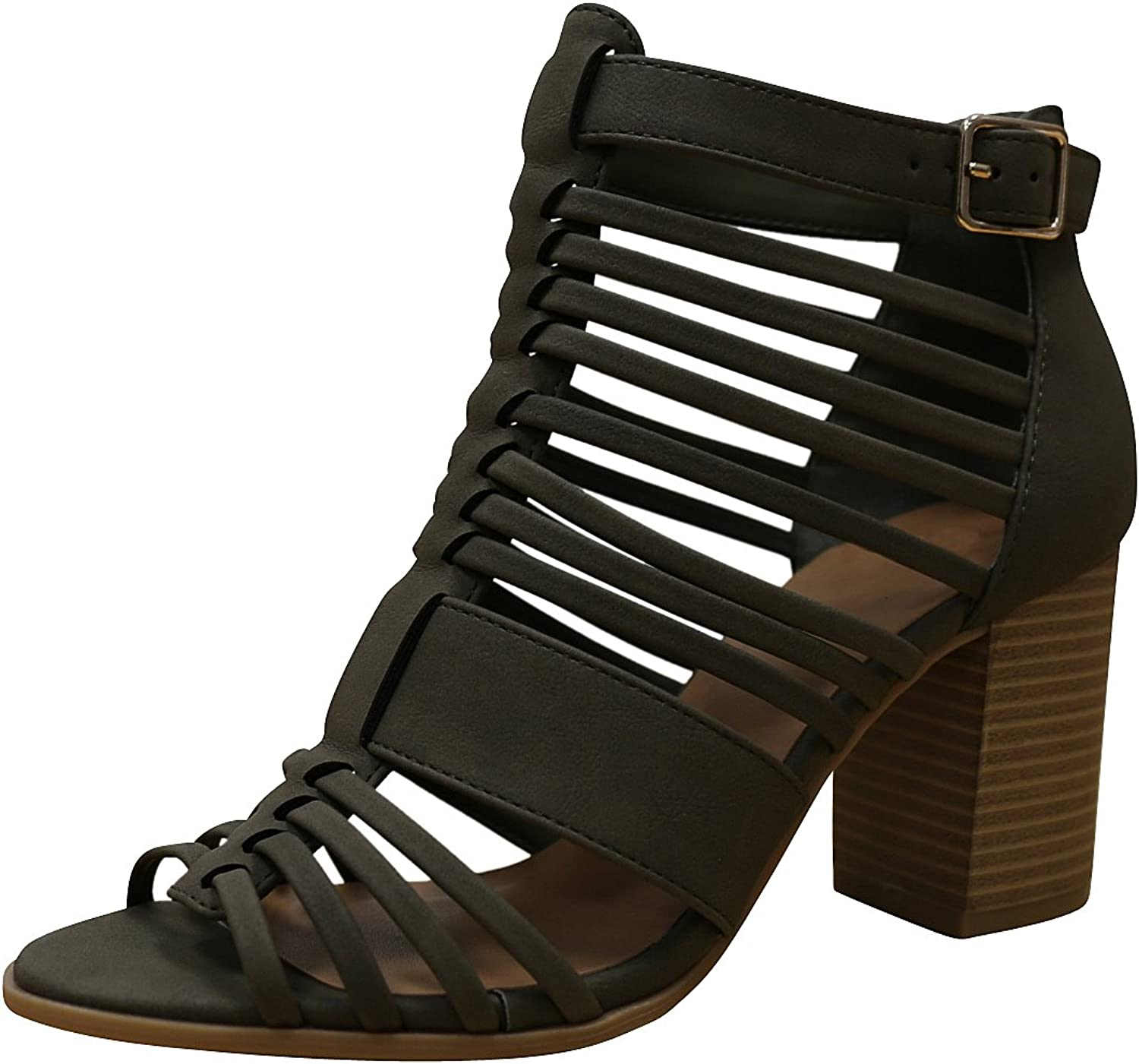 Cambridge Select Women's Open Toe Strappy Caged Cutout Gladiator Chunky Stacked Block Heel Ankle Bootie