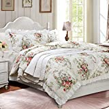FADFAY French Country Bedding King Farmhouse Duvet Cover Vintage Rose Floral...