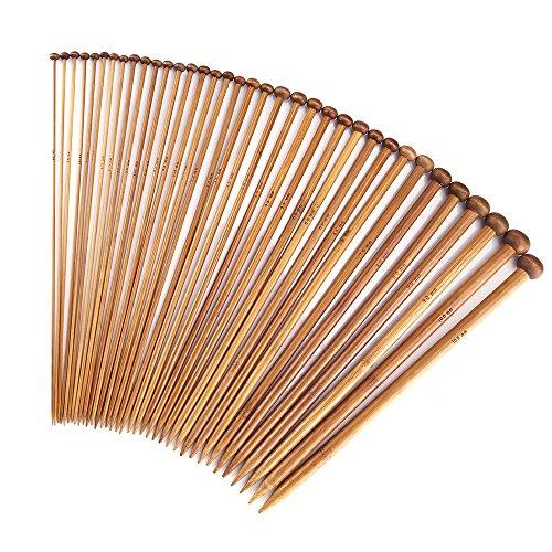 Knitting Needles Set with 18 Sizes Bamboo Single Pointed Knitting Needles 2.0mm 2.25 mm/2.5mm2.75mm 3.0mm/3.25mm/3.5mm/3.75mm 4.0mm/4.5mm/5.0mm/5.5mm/6.0mm/ 6.5mm/7mm/8mm/9mm/10.0mm 35CM(13.78 inch)