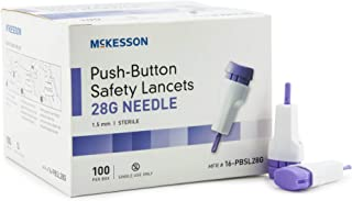 McKesson 16-PBSL28G Safety Lancet Fixed Depth Lancet Needle 1.5 mm Depth 28 Gauge Push Button (Pack of 100)