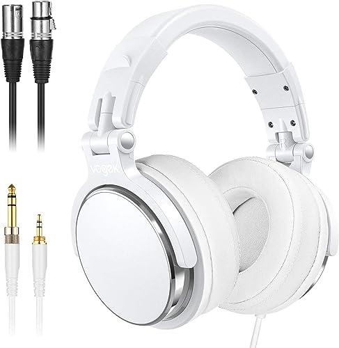 Studio Headphones with 6.6ft XLR Cable, Vogek Prefessional DJ Headphones Mixing DJ Headset Protein Memory Foam Ear Pa...