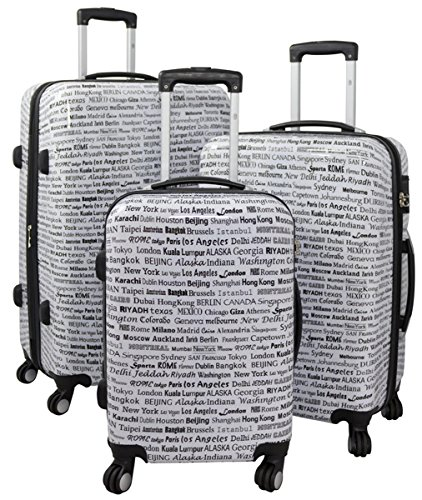 Kofferset Gepäckset Polycarbonat ABS Hartschalen Koffer 3tlg. Set Trolley Reisekoffer Reisetrolley Handgepäck Boardcase PM (Städte der Welt)