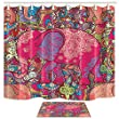 Shocur Bohemian Shower Curtain Set, Cute Africa Red Elephant, Colorful Geometric Mandala Pattern, Bathroom Decor Polyester Fabric 69 x 70 Inches with 12 Hooks and Non-Slip 15 x 23 Inches Bath Mat