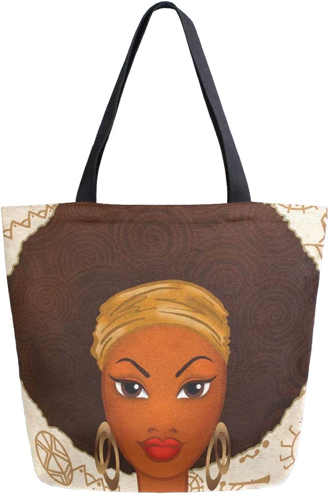 ALAZA Large Limited time trial price Canvas Tote Bag Portrait Woman African Ranking TOP20 American S Of