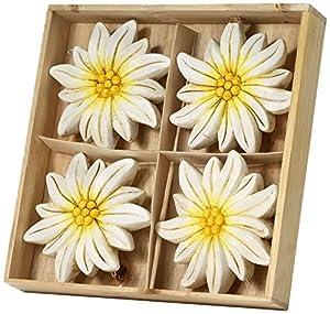Sunny Toys 14747 Keramik Edelweiss zum Hängen circa 14 cm 4-er Set