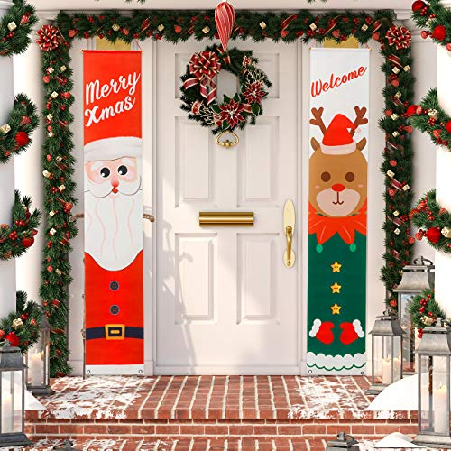 TBD Christmas Banner-Santa Claus and Elk Christmas Porch Sign Holiday Decor-Perfect Banners for Christmas Decorations