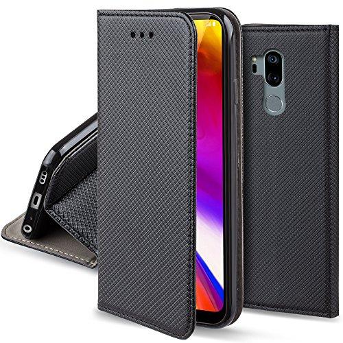 Moozy Hülle Flip Case für LG G7 ThinQ, LG G7 Plus, Schwarz - Dünne Magnetische Klapphülle Handyhülle mit Standfunktion