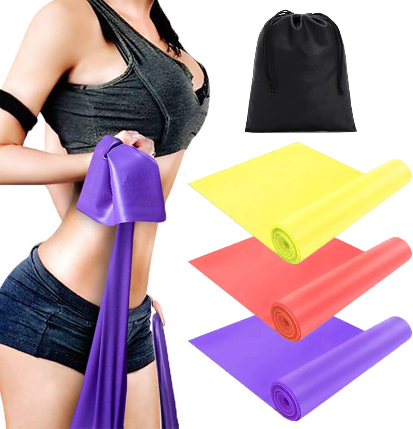 Sunween Resistance Band Set, 3 Pack Latex Elastic Bands for Uppe