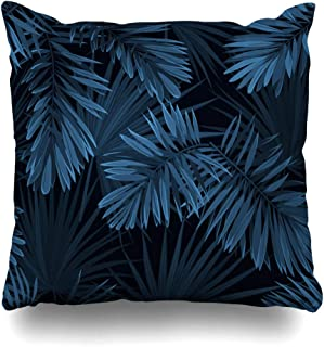 DIYCow Throw Pillows Covers Black Tree Blue Indigo Summer Tropical Camouflage Palm Leaves Pattern Navy California Abstract Home Decor Pillowcase Square Size 18 x 18 Inches Cushion Case