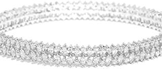 PRITA Beautiful Silver American Diamond Silver Plated Bangle-Style Bracelet for Women and Girls