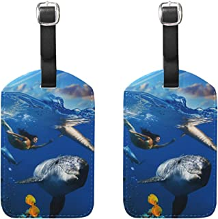 MASSIKOA Underwater Coral Scene with Dolphins Fish Cruise Luggage Tags Suitcase Labels Bag,2 Pack