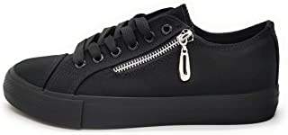 P&L Zapatillas de Lona Mujer Blanco Negro Bambas Puntera de Goma Loneta Blanca Negra