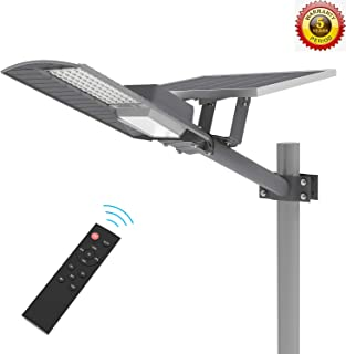 TENKOO LED Outdoor Solar Street Lights Dusk to Dawn (Light Sensor Included), IP65 Outdoor Solar Flood Light 60W 6000 Lumens with Remote Control Security Lighting for Yard Garden Pathway