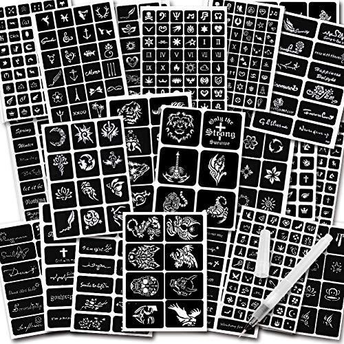 Koogel 434pcs Semi Permanent Tattoo With Body Painting Pen 20 Sheets Henna Girls Boys Tattoo Stencil