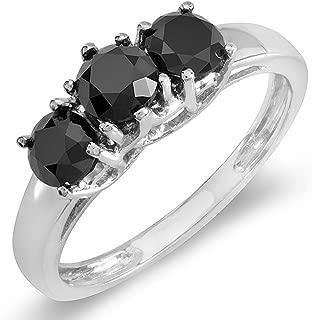 2.00 Carat (ctw) 14K Black Round Diamond Three Stone Ladies Engagement Ring 2 CT, White Gold
