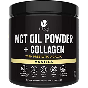 MCT Oil Powder with Collagen and Prebiotic Acacia - Pure MCT's - Perfect for Keto - Energy Boost - Nutrient Absorption - Appetite Control - Healthy Gut Support – Vanilla