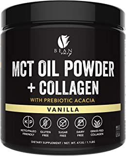 MCT Oil Powder with Collagen and Prebiotic Acacia - Pure MCT's - Perfect for Keto - Energy Boost - Nutrient Absorption - A...