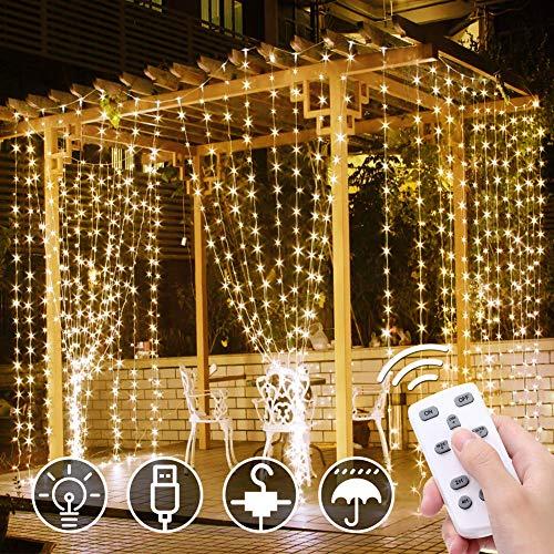 Lichtgordijn, 3 * 3m 300 LED Met Haak LED Lichtslingers, 8 Verlichtingsmodi, USB IP68 Waterdichte Koperen Slinger Voor Huis, Tuin, Feest, Bruiloft, Festival - Warm Wit 【Energieklasse A +++】