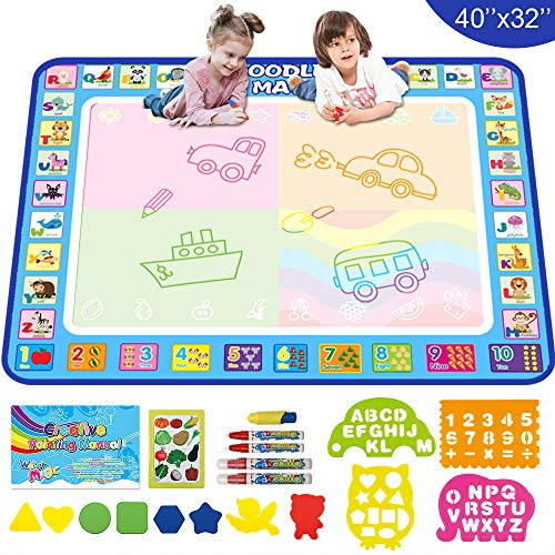 Aqua Magic Doodle Drawing Mat  40x32 Inches Large Water Coloring Writing Painting Mat for Kids Baby Toddler  Mess Free Educational Toys Present Xmas Gift for Boy Girl Age 2 3 4 5 6 7 8 Year Old