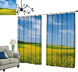 2 Panels Curtain with Hook Yellow rapesee Flowers on fiel Blue Sky Clouds burgenl Austria Can Block Sunlight,W84.3 xL72