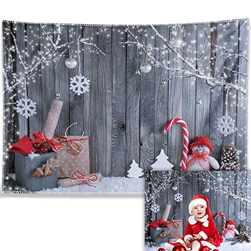 Allenjoy 7X5ft Durable Fabric Christmas Photography Backdrop Xmas Tapestry Snowman Santa Wood Wall Background Winter Holiday Party Supplies Banner Decoration Photo Booth Studio Prop Gifts Idea