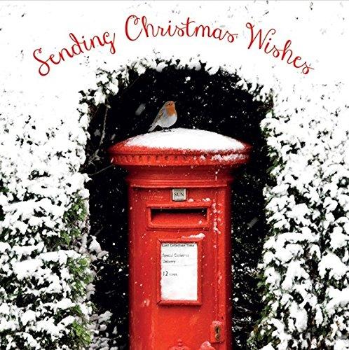 Kerstkaart - (ABA7349) - Robin op een rode brievenbus - Flittered Finish