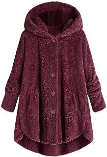 Women Hoodies Coat, Ladies Plus Size Button Plush Tops Solid Long Sleeve Cardigan Wool Coat Winter Jacket