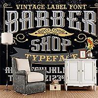写真の壁紙3D壁画髪サロンレトロ文字理髪店背景壁現代のHDポスター大きな壁のステッカーツーリング壁アート装飾壁の装飾-78.8x55.1inch