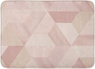Emvency Doormats Bath Rugs Outdoor/Indoor Door Mat Brown Geometric Geometry Hexagonal Abstract in Beige Nude Red Pattern Artistic Bathroom Decor Rug Bath Mat 16