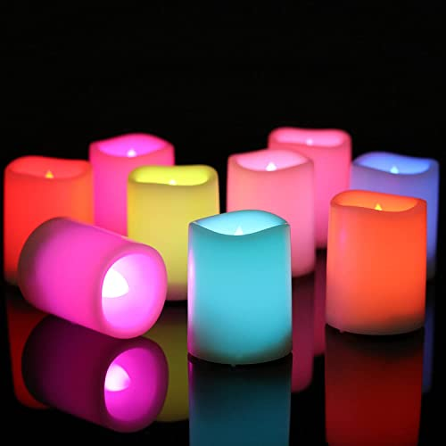 """Eldnacele 12 Pack Color Changing Flameless Candles with Remote, Battery Operated Multi Colored LED Votive Candles for Romantic, Halloween, Christmas, Wedding Party Decorations, 1.5""""x 2"""""""