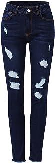 Women's Ripped Denim Jeans Mid Waist Skinny Distressed...