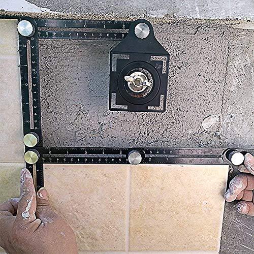Ausuc自由スコヤ六角定規マルチ舗装タイルオープニングロケーターパンチングツール折り畳みスコヤ折尺測定定規DIYツール大工道具職人工具テンプレートツールアルミ合金製黒