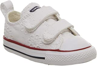0f478c68bc000 Converse Chuck Taylor All Star 2V Broaderie Anglias Ox Blanc Grenat Textile  Bébé Formateurs Chaussures