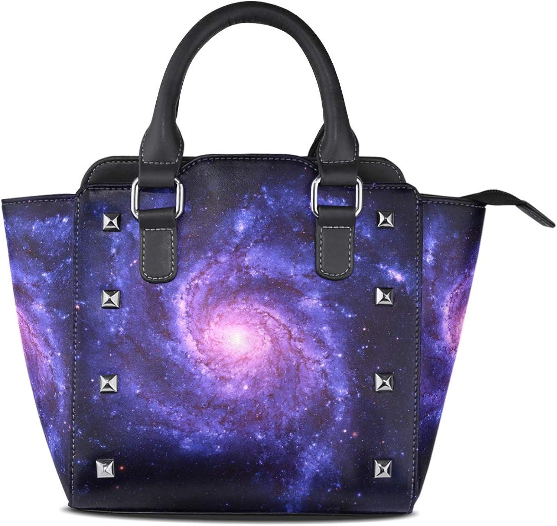 My Little Nest Women's Top Handle Satchel Handbag Space Galaxy Ladies PU Leather Shoulder Bag Crossbody Bag
