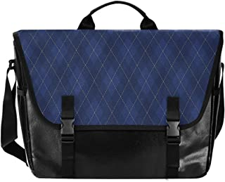 Bolso de cartero de lona azul unisex de 15,6 pulgadas, estilo retro, para negocios, bolso de hombro, bolso de mano