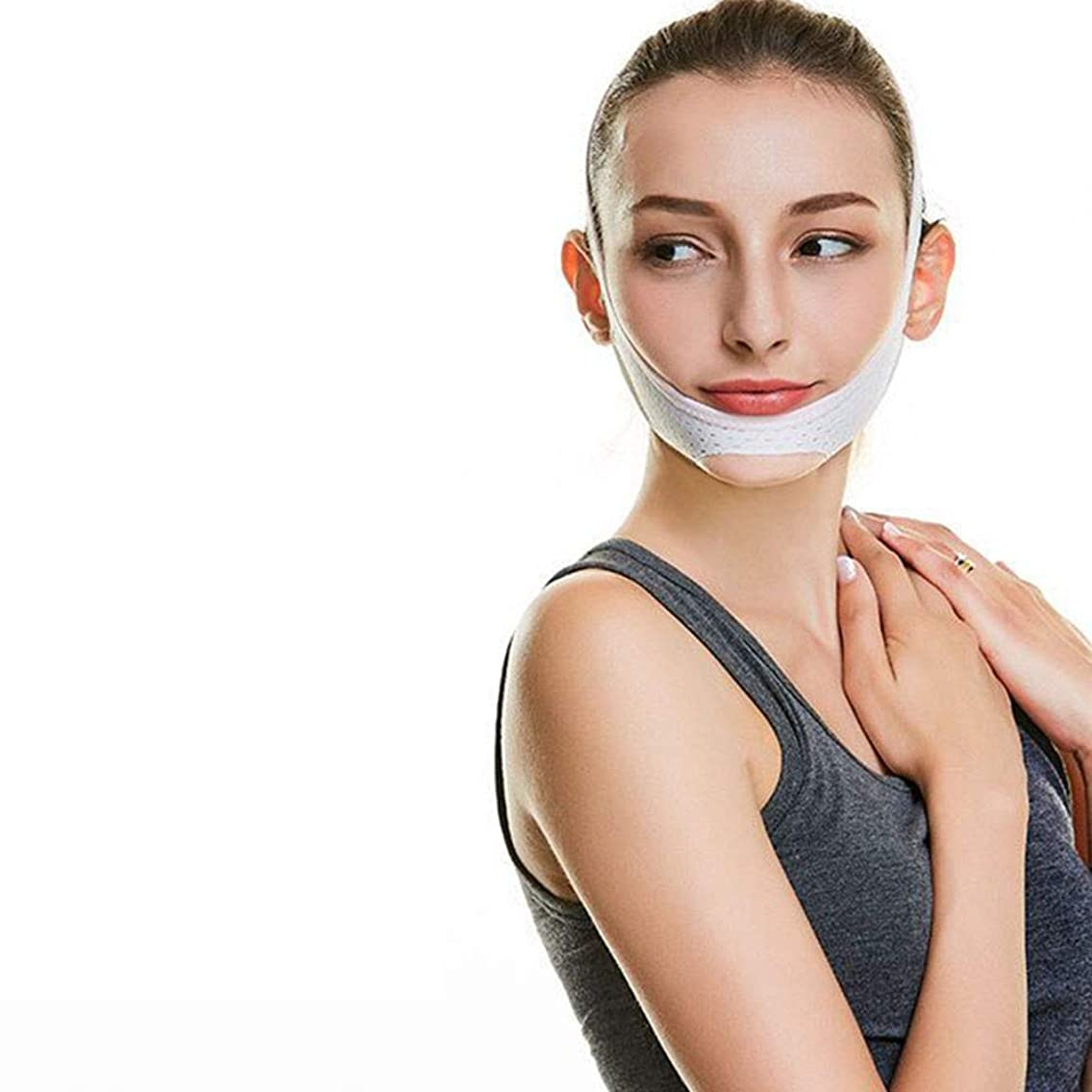 火山学者なめらかフィドルVフェイスライン包帯、顎ほぐれ防止防シワマスク極薄ベルト/ダブルチンフェイスタイプアライナ(ホワイト)