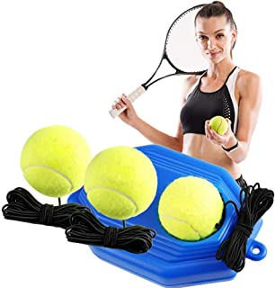 Tennis Trainer Rebound Baseboard with 3 Long Rope Balls Great for Singles Training, Self-Study Practice, Tennis Training Tools for Kids Adults Beginners