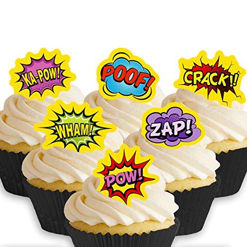 12 x Vorgeschnittene und Essbare Superheld Comic Kuchen Topper (Tortenaufleger, Bedruckte Oblaten, Oblatenaufleger)
