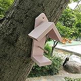 Crazyfly Alimentador de pájaros de madera, comedero de pájaros en forma de casita, duradero, lavable